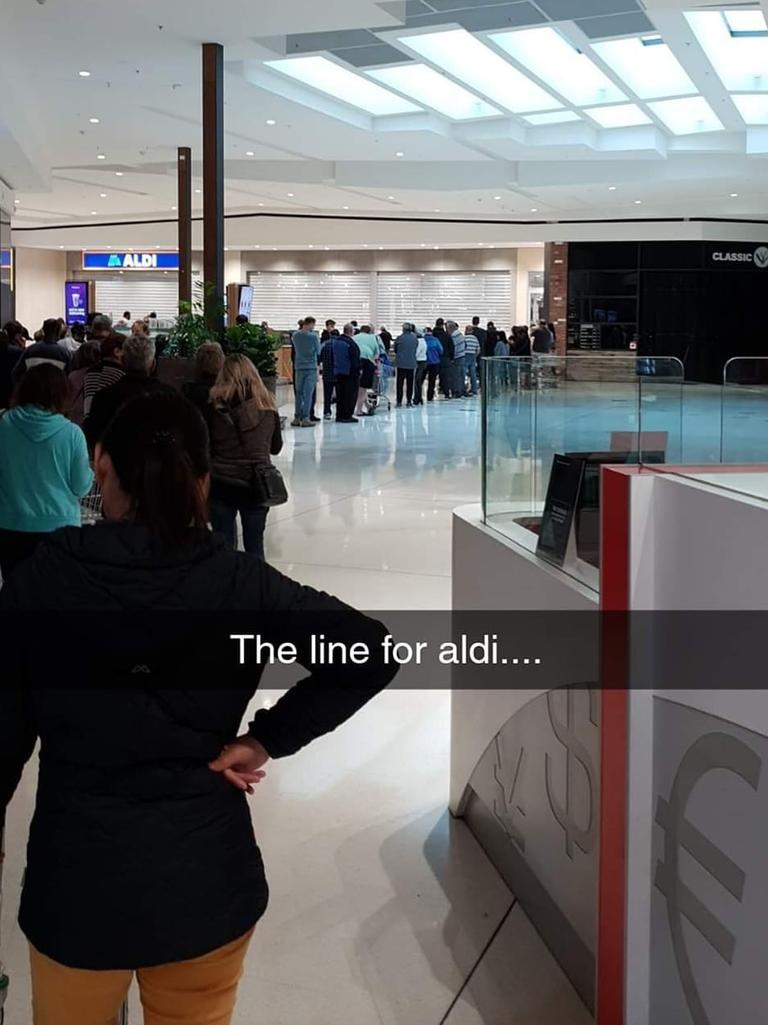 Aldi shoppers have reported seeing some using 'un-Australian' tactics to get past the buying limits, as customers were forced to wait in huge queues to get into a store on Saturday. Picture: Facebook