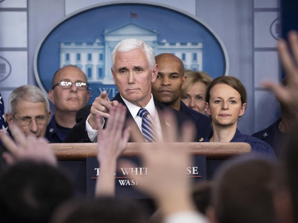 Vice President Mike Pence points to a question as he speaks during a briefing about the coronavirus in the James Brady Press Briefing Room of the White House. Picture: AP
