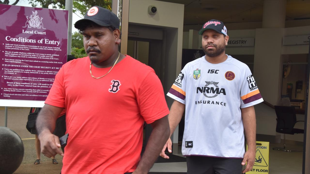 Jeffrey Ahwon and Jordan Scott leaving Darwin Local Court. Picture: Sarah Matthews