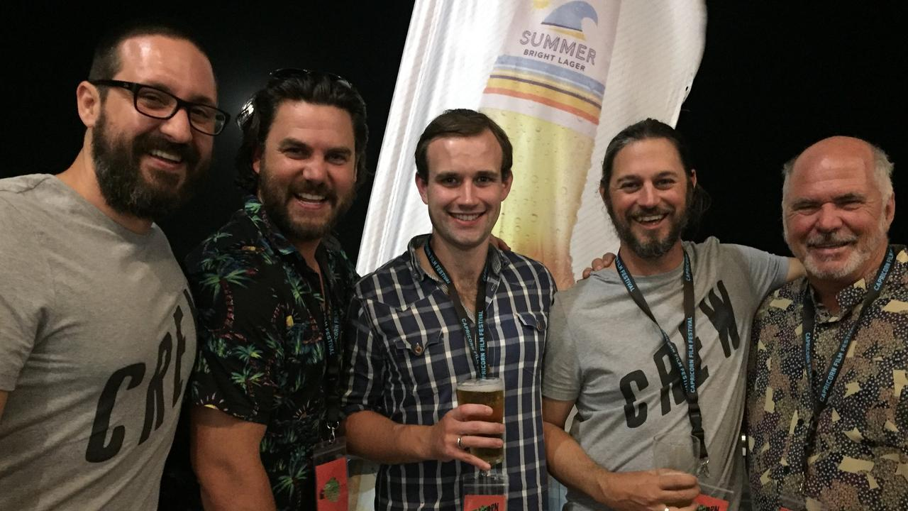 FILM FANS: Luke Graham, Ben Mingay, Dominic Russell, Peter Szilveszter and Bill Ludwig at last year's festival. Picture: Christine Mckee