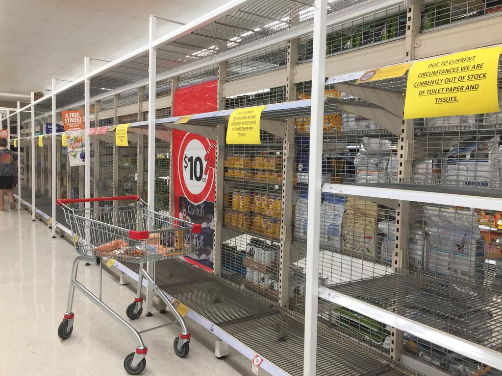 Coles stores across the country are experiencing extreme product shortages as people panic about the coronavirus outbreak. Picture: Supplied