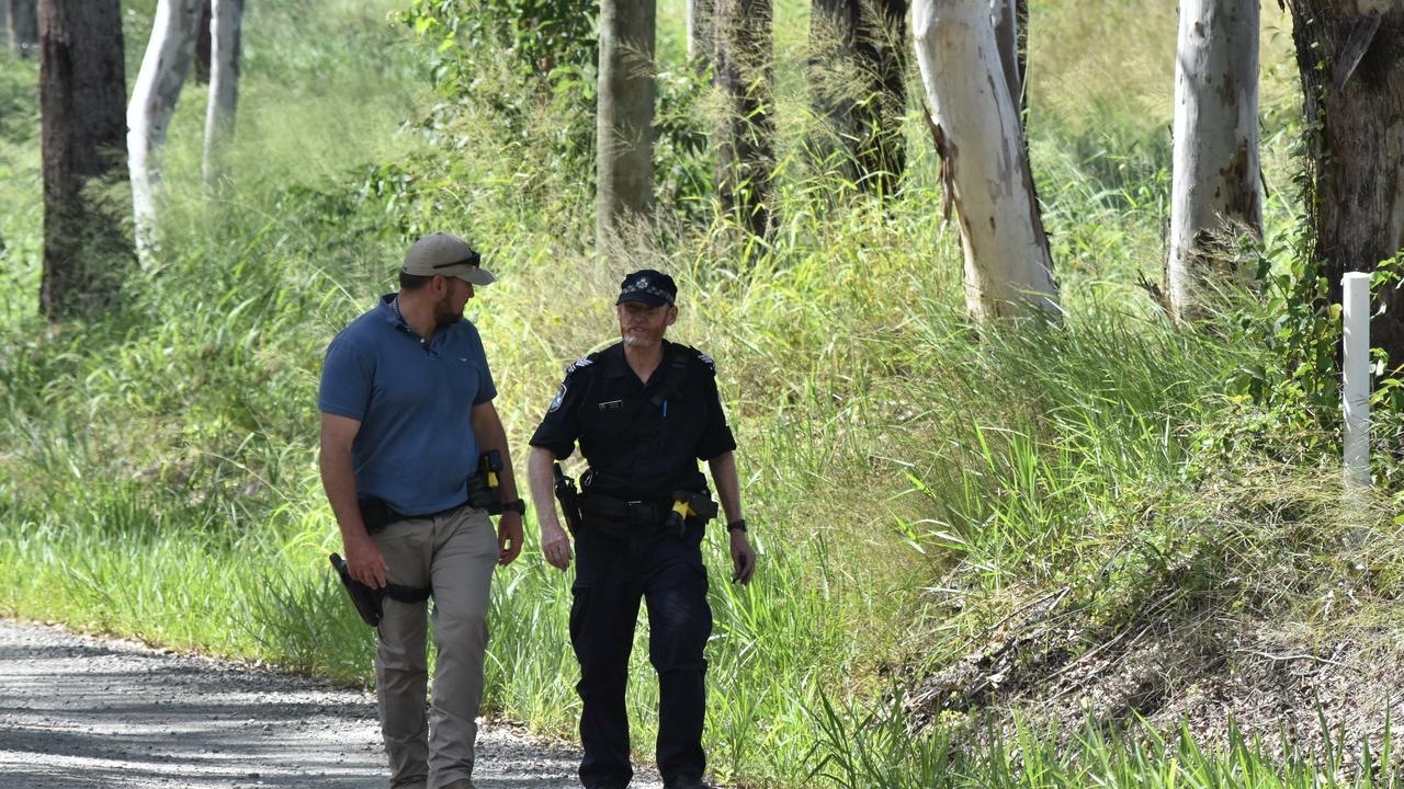 Police comb bushland near the Frayne Rd property where 22-year-old Michael Zanco was shot dead last Thursday night.