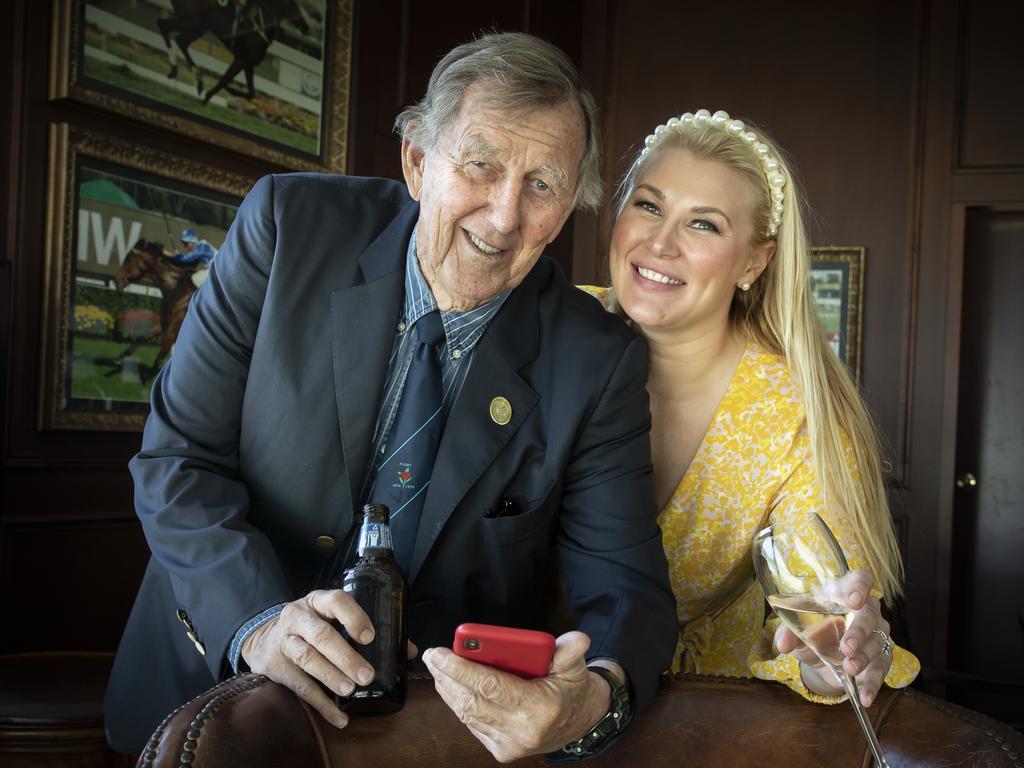 John Singleton and his daughter Sally Singleton Hawach at Royal Randwick. Picture Chris Pavlich for The Australian