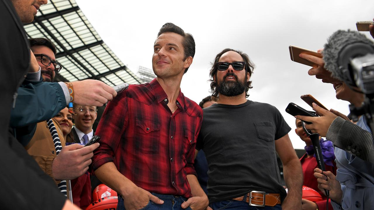 Brandon Flowers (left) and Ronnie Vannucci Jr. of American rock band The Killers have postponed ticket sales for their Australian tour. Picture: AAP Image/Joe Castro.