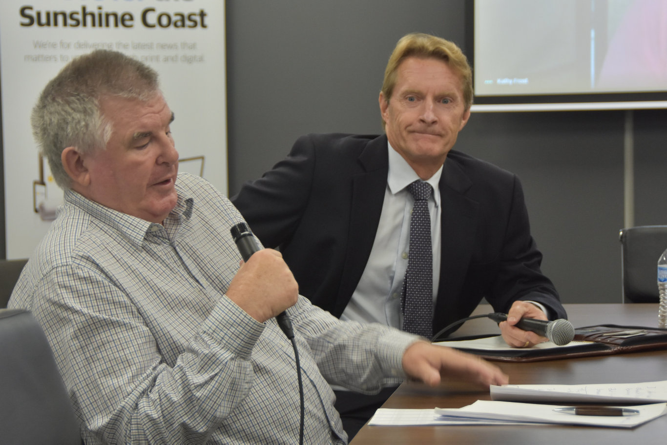 Mayoral candidates Michael Burgess and Chris Thompson speak at a Sunshine Coast Daily election forum.