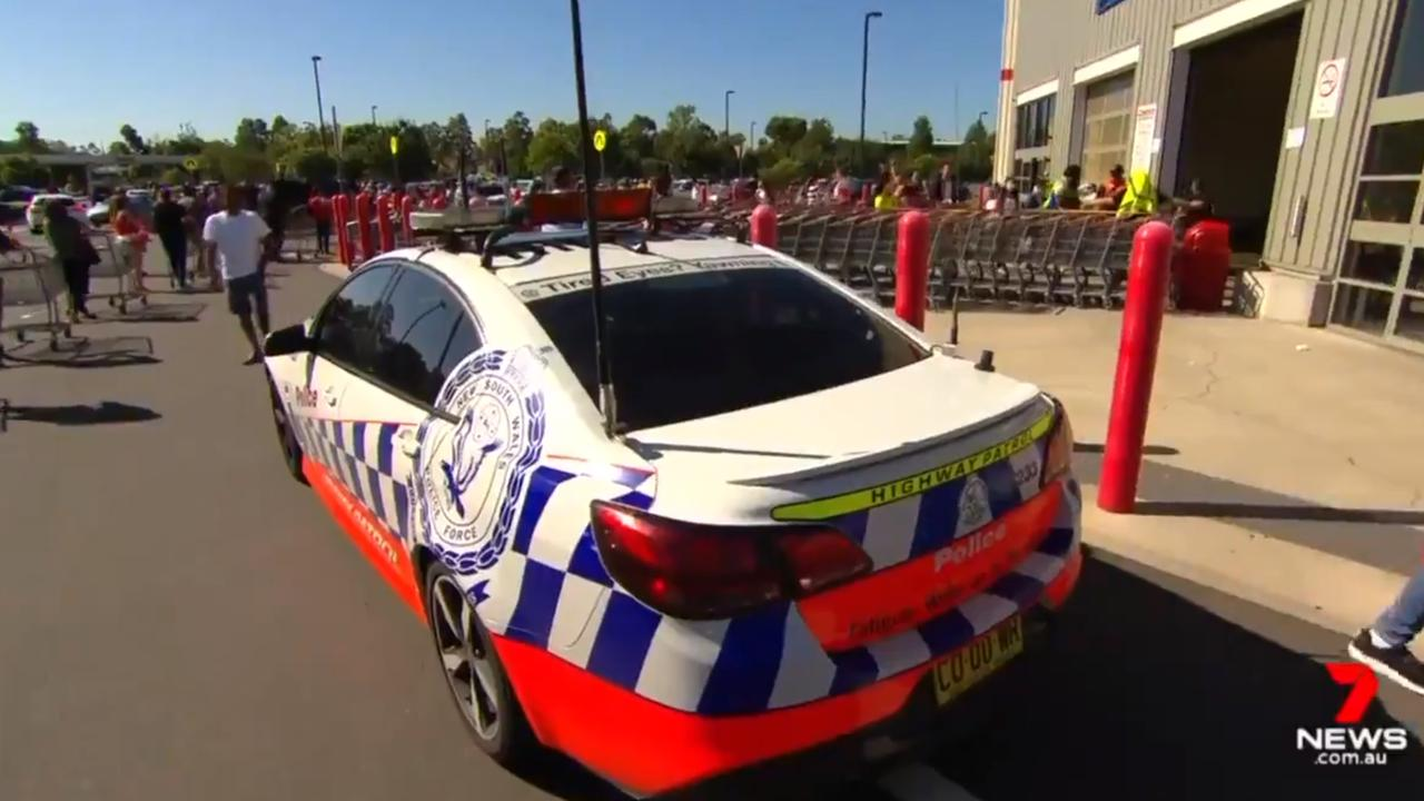Police presence outside Costco in Casula on Wednesday. Picture: 7News