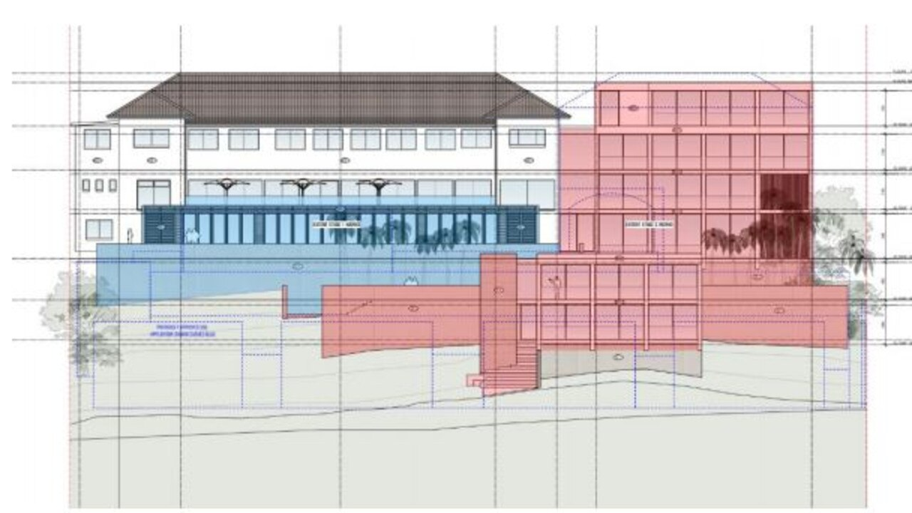 The eastern elevation showing the works proposed for the Pacific Hotel at Yamba.