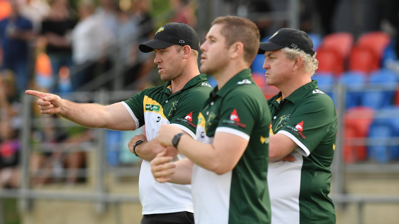 Ipswich Jets coach Keiron Lander directs his troops during last weekend's Intrust Super Cup match against the Townsville Blackhawks. Picture: Rob Williams