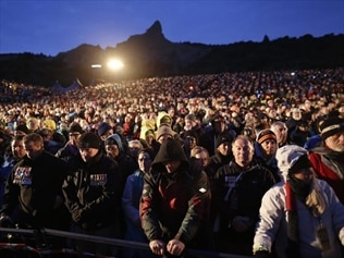 Thousands of people at the centenary of Gallipoli service.