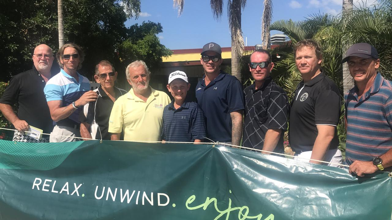 North Rockhampton Golf Club president Kevin Young (third from left) with players Harold Buchholz, Charles Miles, Kevin Jensen, Isaak Jensen, Dylan Parish, Michael Davidson, Rene Robe and Tony Martin.