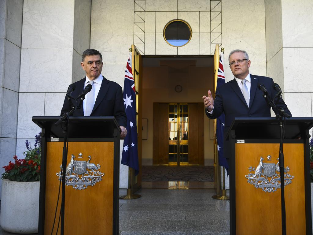 Prime Minister Scott Morrison and Chief Medical Officer Brendan Murphy say school closures would cause chaos. Picture: AAP