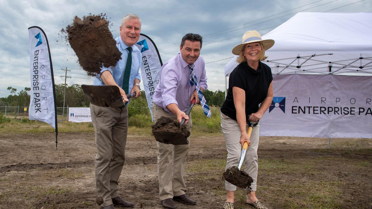 Deputy Prime Minister Michael McCormack, Member for Cowper Pat Conaghan and Mayor Cr Denise Knight at the sod-turning of the Enterprise Park earlier this year.