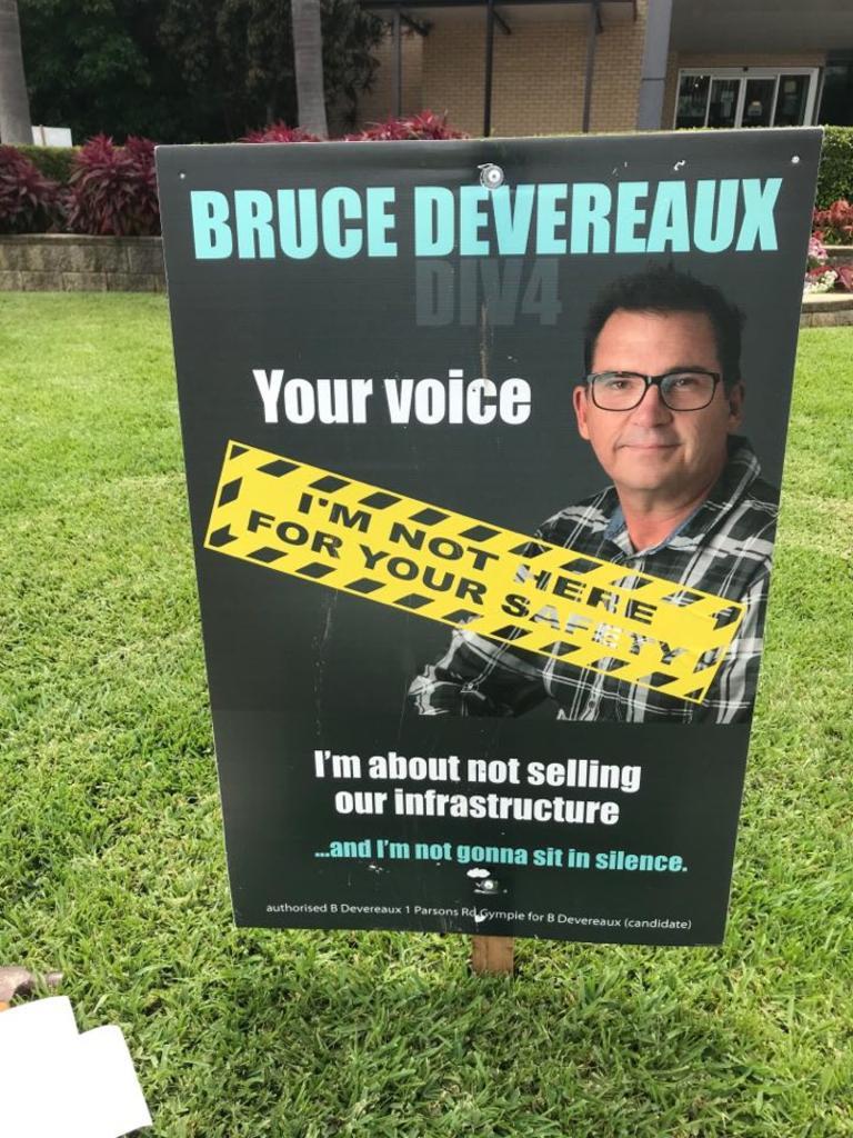 Bruce Devereaux election sign post-gauntlet