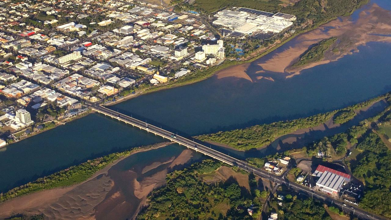 ROAD SURVEY: An aerial image of Mackay city and the Pioneer River.