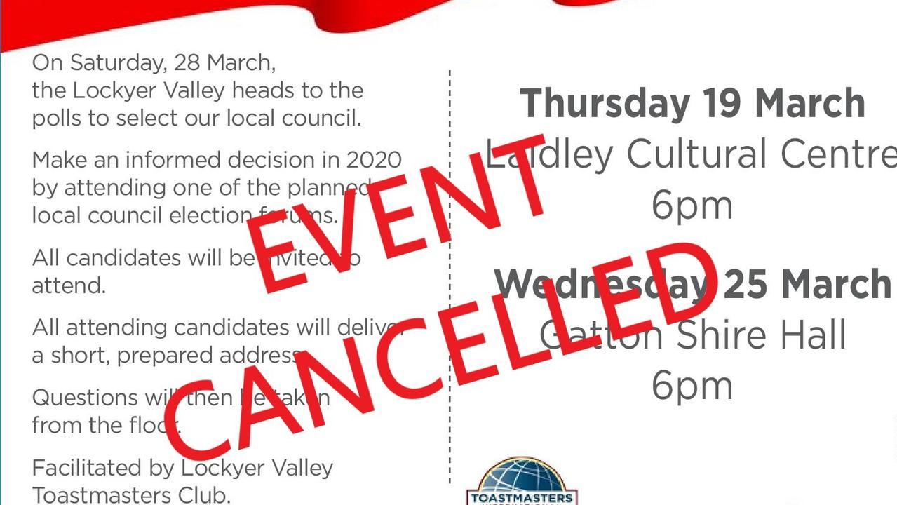 VIRUS VICTIM: Lockyer Valley election forums canceled.