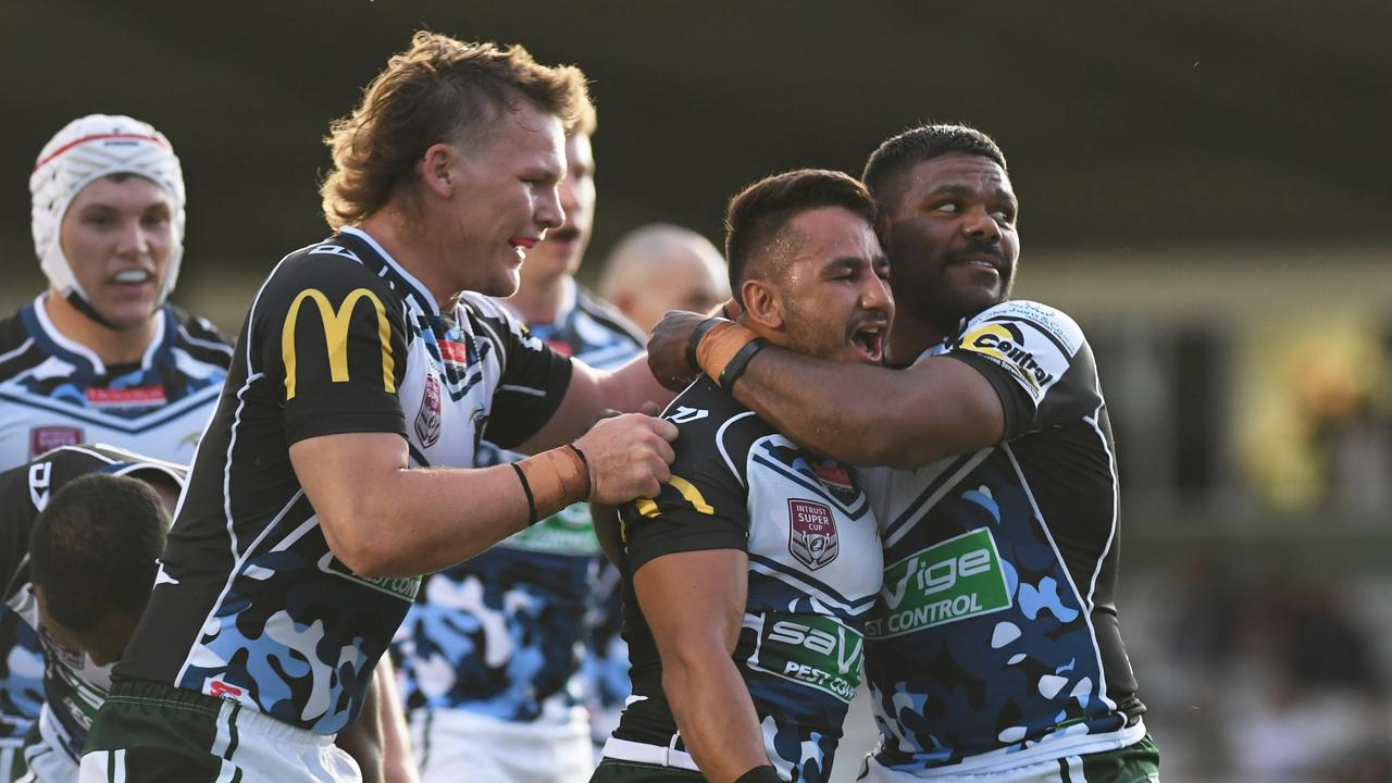 Jayden Connors celebrates scoring a try for the Jets in the Intrust Super Cup season-opener. Picture: Rob Williams