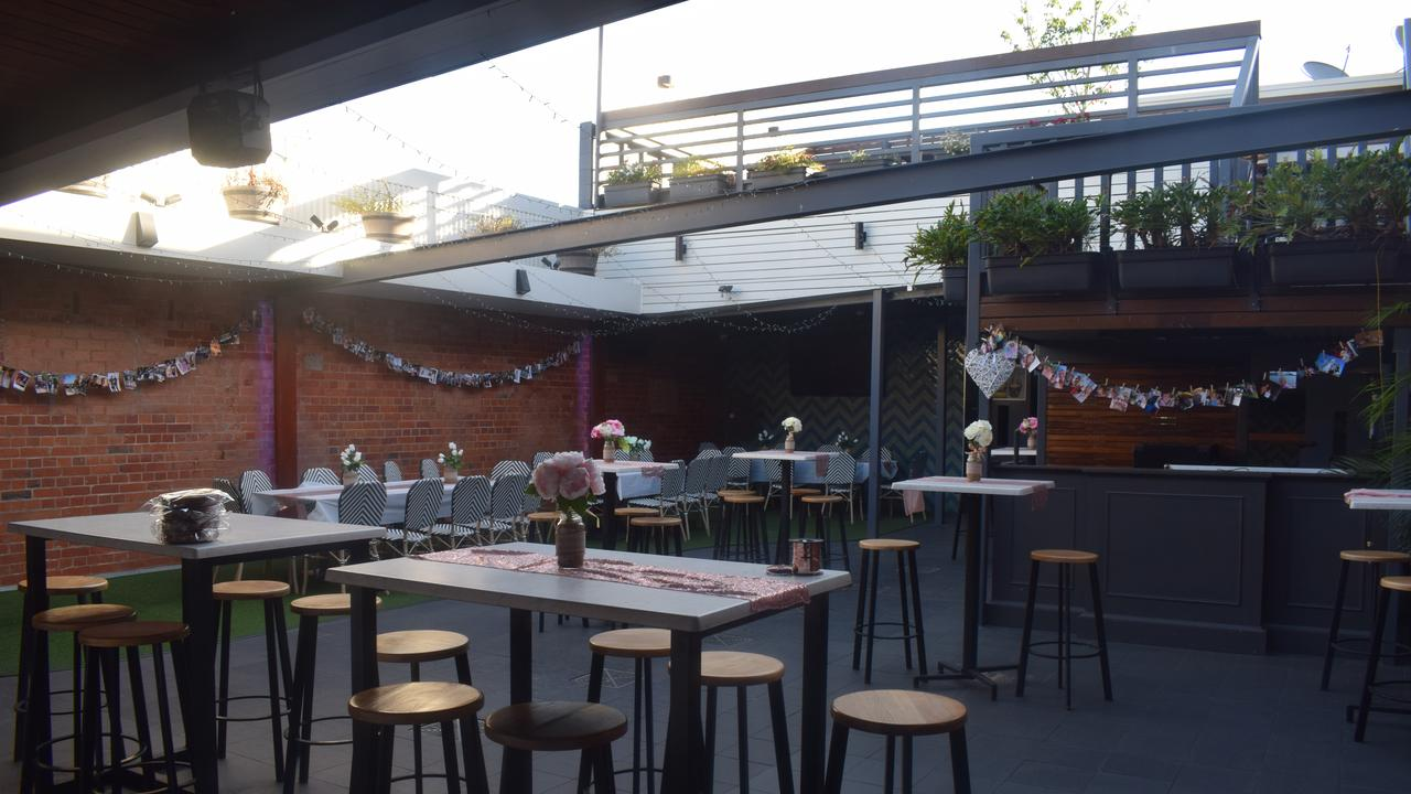 The upstairs beer garden set up for a function.
