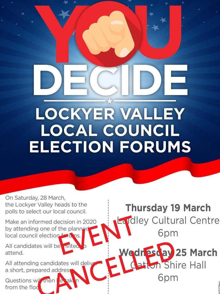 Lockyer Valley election forums canceled.