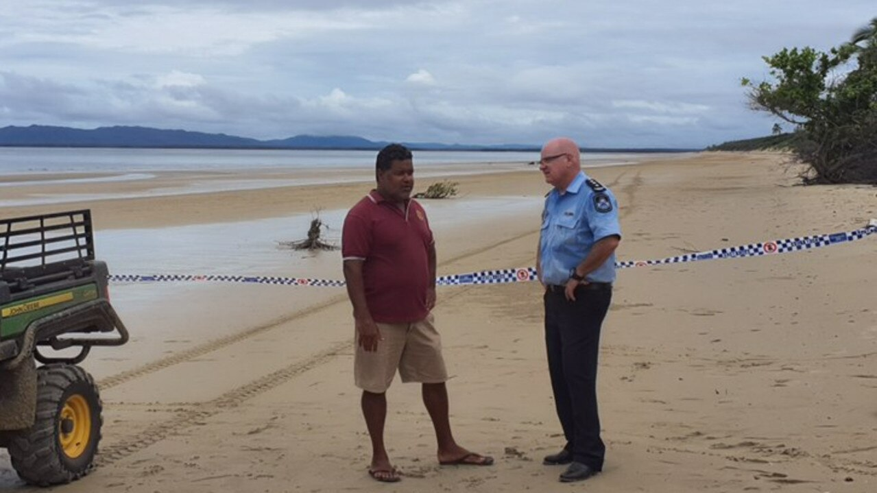 Pictured - Cape York Inspector Mark Henderson with Lockhart River Mayor Wayne Butcher- Plane crash on Quintell beach 4 km east of plane crash near Lockhart River township on Cape York.Five people are feared dead after a plane crash near Lockhart River township on Cape York