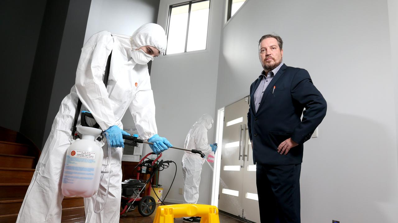 Managing director Crime & Trauma Cleaning Mark Ellis is using his forensic cleaning company to cleaning up after coronavirus outbreaks. Photo: Steve Pohlner