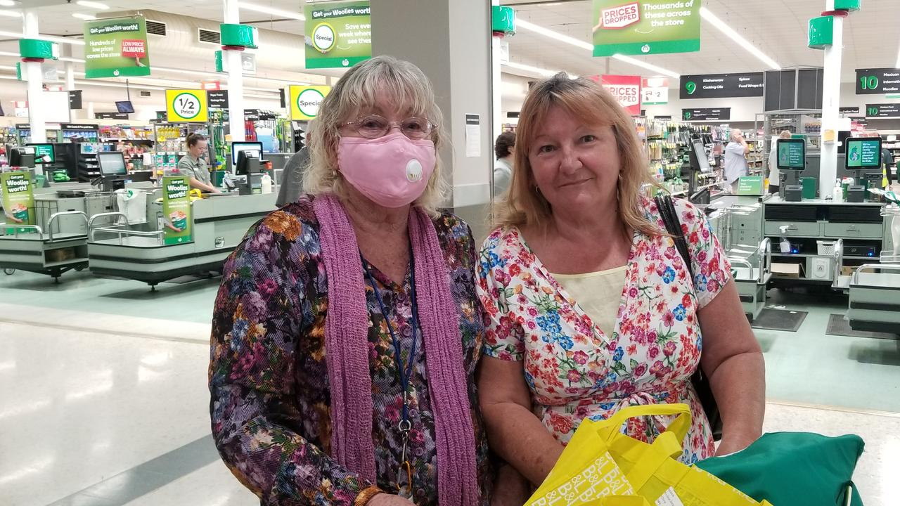 Shirley White and daughter Karen Hadadkiss outside Woolworths in Emerald.