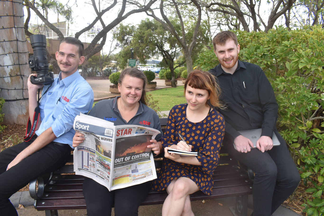 Gatton Star editorial team, Dominic Elsome, editor Ali Kuchel, Ebony Graveur and Nathan Greaves.