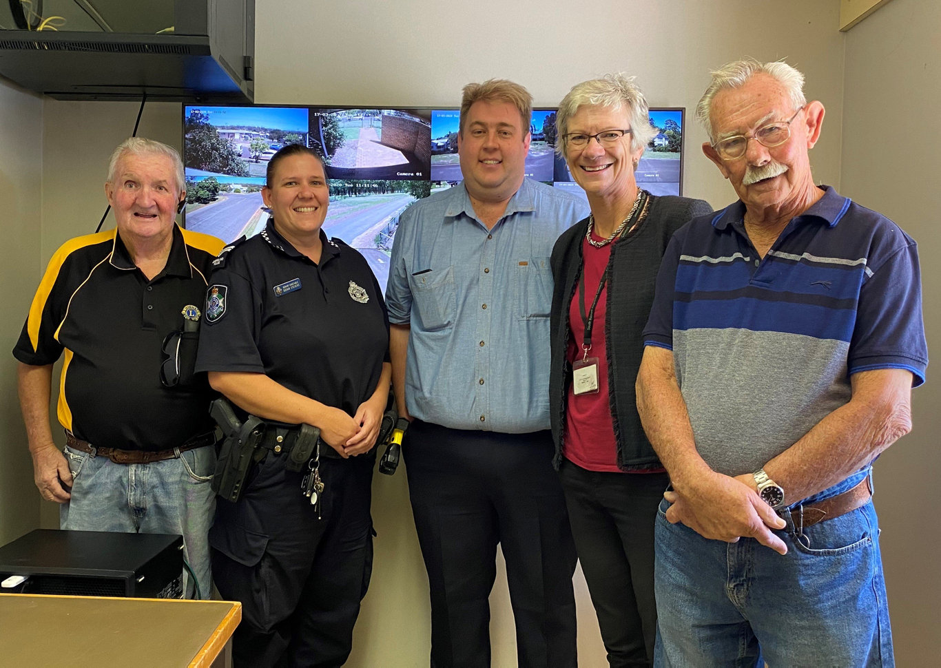 EYES ON YOU: Fred Law, president of the Wondai Lions Club, Senior Constable Susan Stevens from the Wondai Police, Luke Radunz from DataWave Internet Wondai, Councillor Ros Heit and Brian Hodson from Wondai Neighbourhood Watch at the official launch of the new Wondai security cameras.