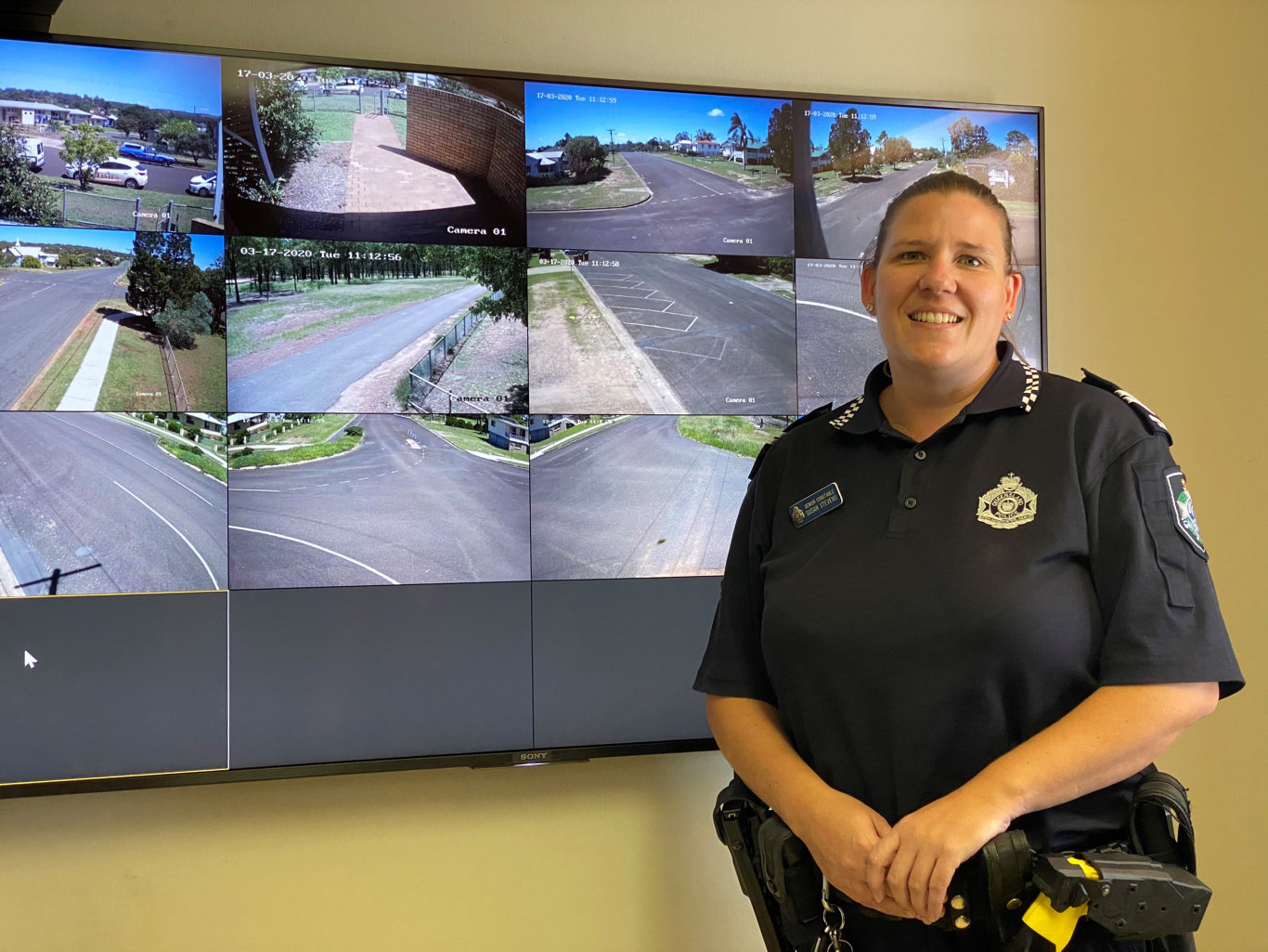 Senior Constable Susan Stevens from the Wondai Police at the official launch of the new Wondai security cameras.