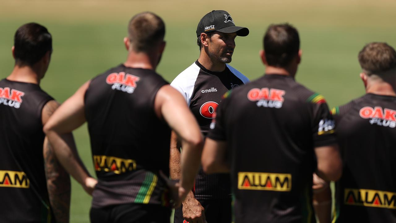 Assistant coach Trent Barrett during Penrith Panthers NRL training at Penrith. Picture: Brett Costello