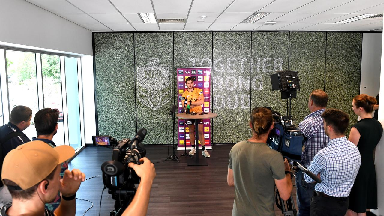 Carrigan keeps his distance from the media at a Broncos press conference: Picture: Getty Images.