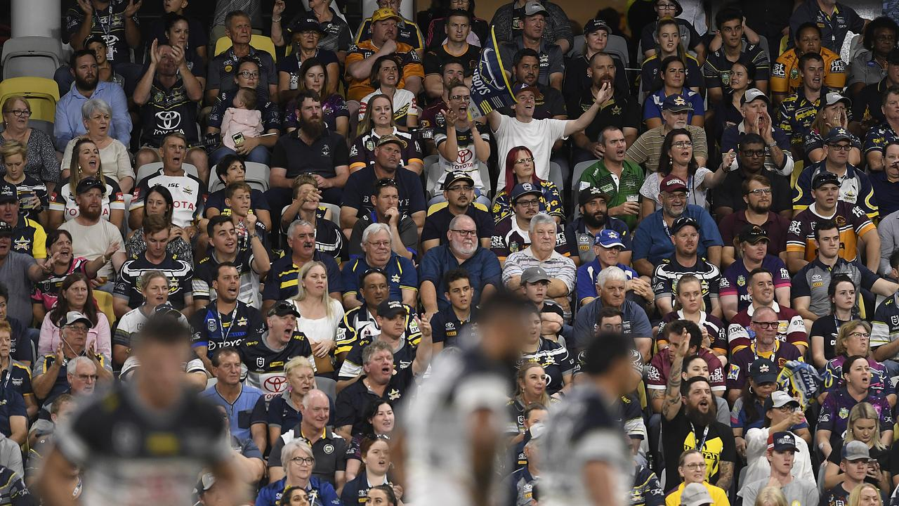 A view of the crowd during the round 1 NRL match between the North Queensland Cowboys and the Brisbane Broncos at Queensland Country Bank Stadium. Picture: Ian Hitchcock/Getty Images)