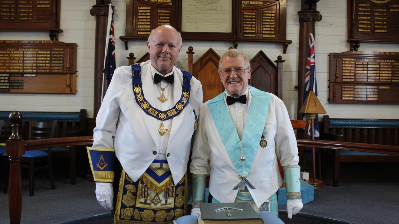 Deputy Grand Master for Queensland Jeff Harper with the new Worshipful Master James Barlclay at the Kingaroy Masonic Lodge. Photo: Laura Blackmore