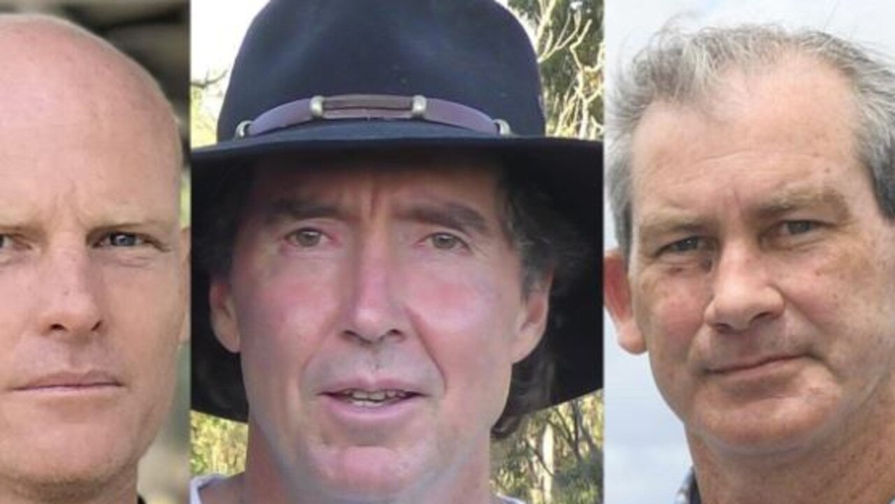 Mayoral candidates Glen Hartwig, Tim Jerome and Mick Curran.
