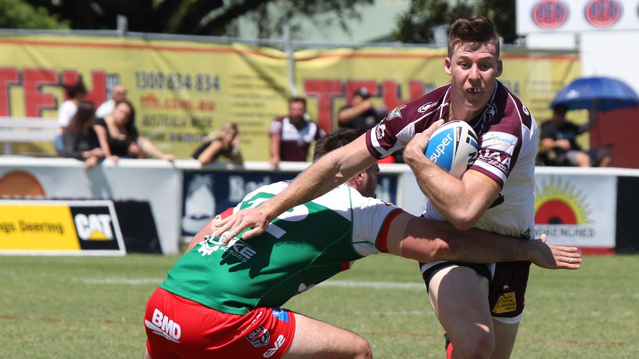 Intrust Super Cup Round 1 - grand final rematch between Burleigh and Wynnum Manly at Pizzey Park. B Burleigh Player No6 Josh Rogers Wynnum Player No 12 Alex Barr Pic Mike Batterham