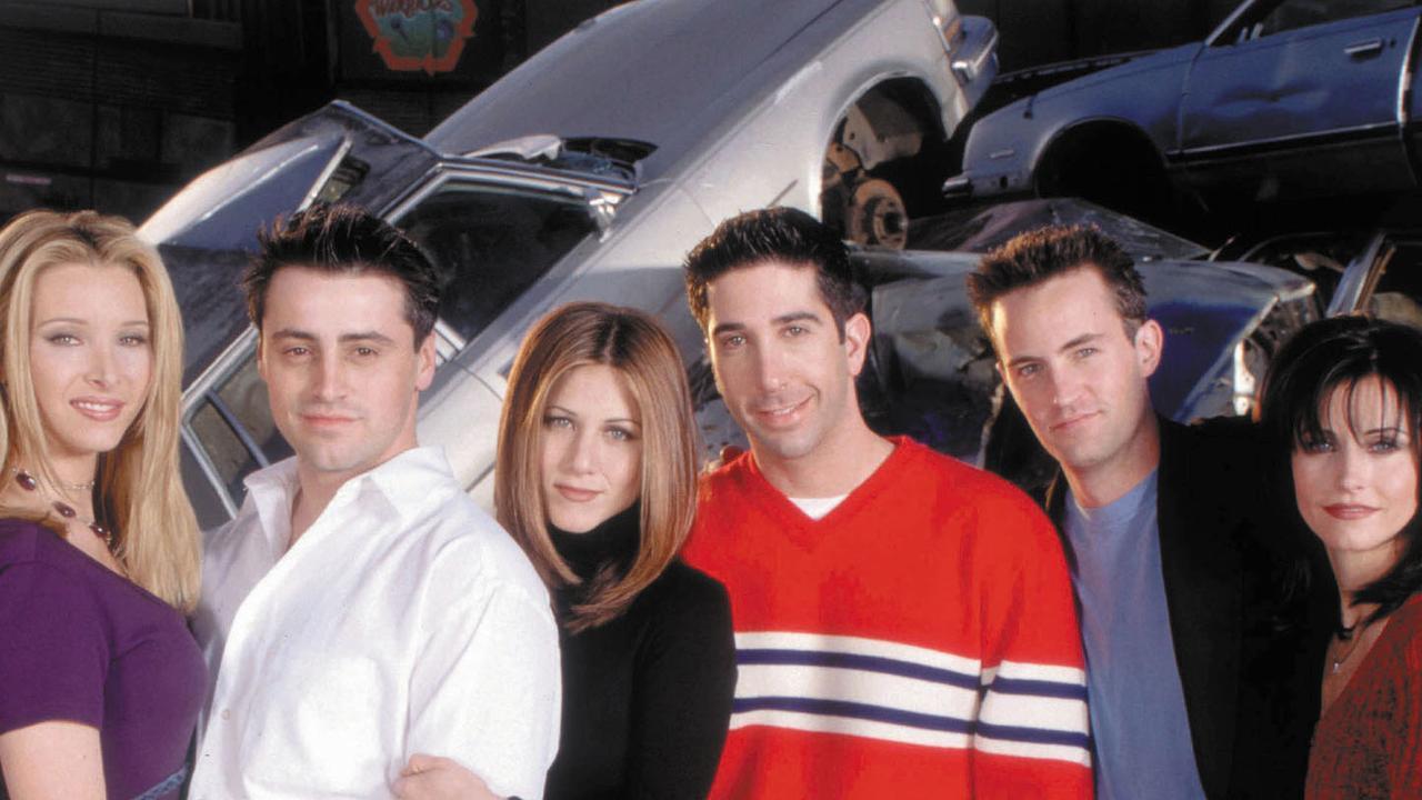 Cast of the TV show Friends: Lisa Kudrow, Matt LeBlanc, Jennifer Aniston, David Schwimmer, Matthew Perry and Courtney Cox.