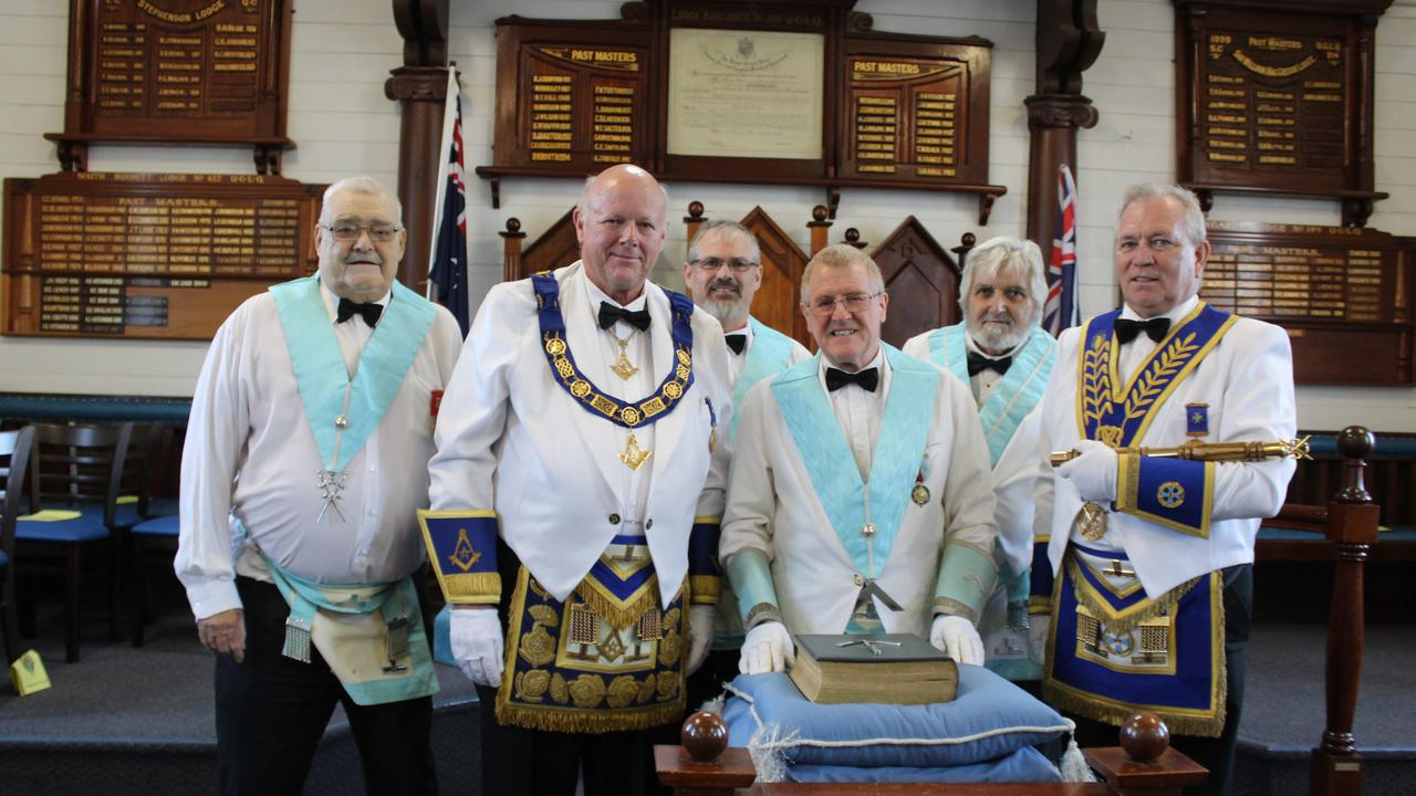 Worshipful Brother Robert Coleman, Deputy Grand Master of Queensland Jeff Harper, Junior Warden Edward Sloan, Worshipful Master James Barclay, IPM Craig Munro and Deputy Grand Director of Ceremonies Neil Jones at the Kingaroy Masonic Lodge. Photo: Laura Blackmore