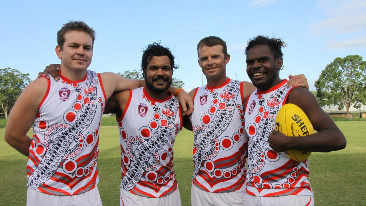 FLYING HIGH: This quartet of Tennant Creek footy players Owen Paterson, Tommy Gillett, Andrew Baker and Bronson Plummer bring an enormous amount of Aussie rules expertise, skills, experience and passion to their new team at the Lismore Swans AFL Club.