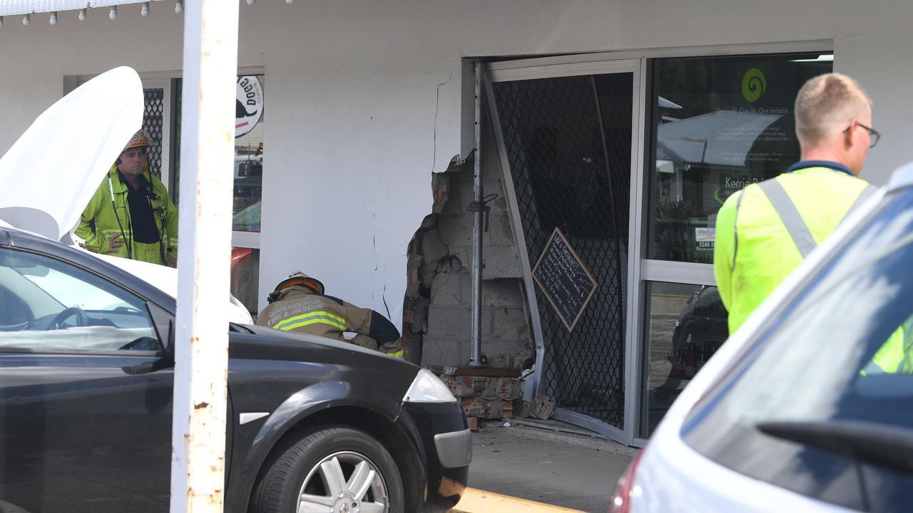 The damaged shop front.