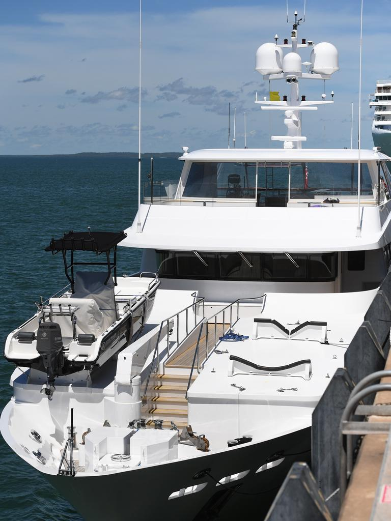 Border Force and Biosecurity officers aboard the superyacht Platinum (Freemantle), Darwin Harbour.