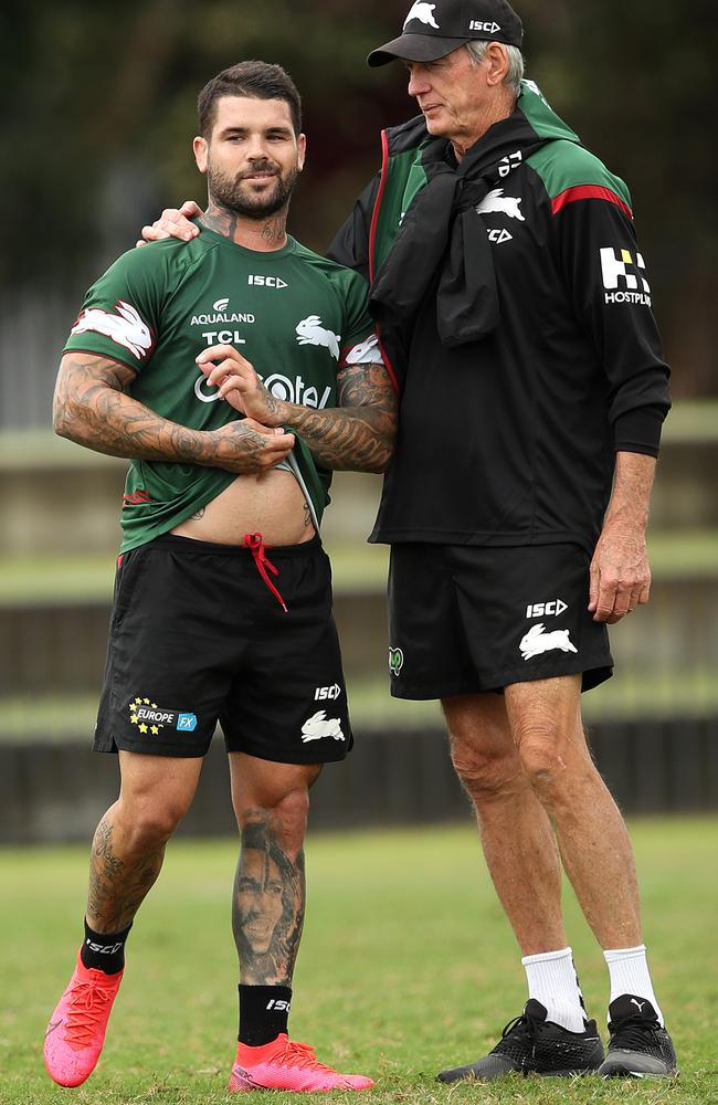 Wayne Bennett and Adam Reynolds together at training. Picture: Phil Hillyard