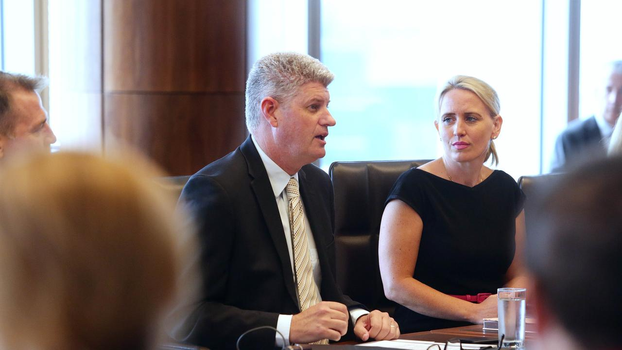 Ministers Stirling Hinchliffe and Kate Jones. PICTURE: AAP IMAGE/CLAUDIA BAXTER