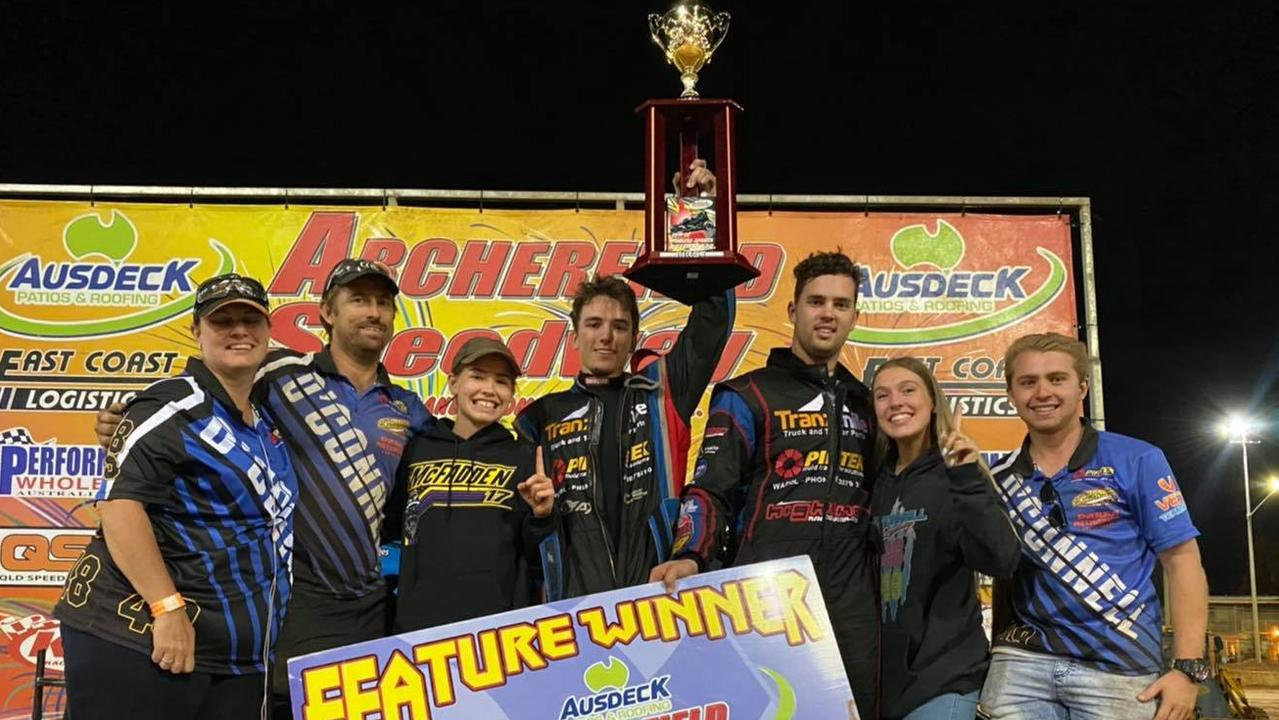 Casey O'Connell and his successful speedway team. Picture: 44Photography