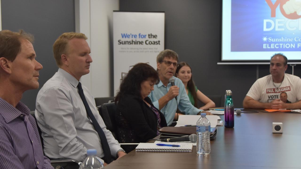 Division 10 candidates Keith Campbell, Matthew Filippi, Sue Etheridge, David Law, Cortney Claridge and Paul Monaghan speak at a Sunshine Coast Daily election forum.