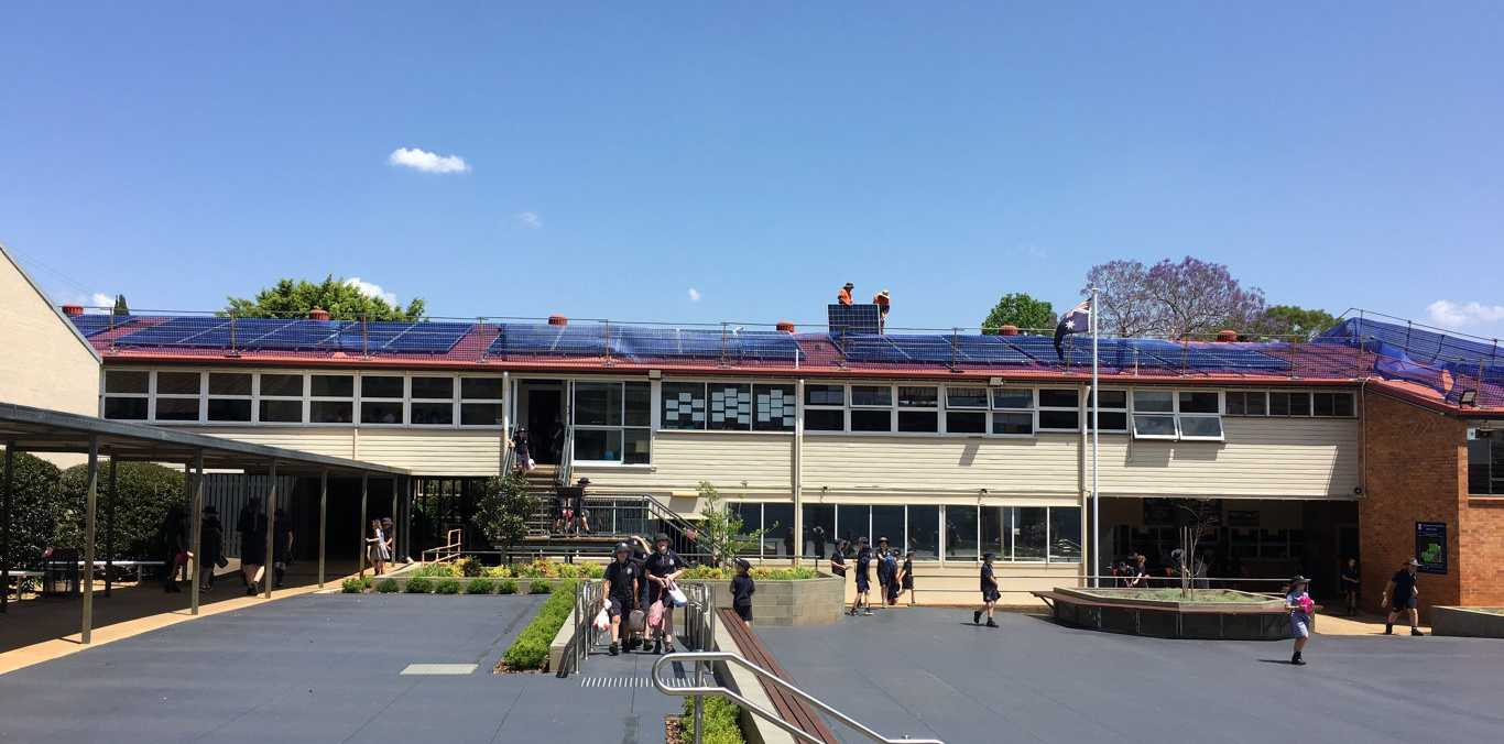 Solar panels installed at Toowoomba East State School.