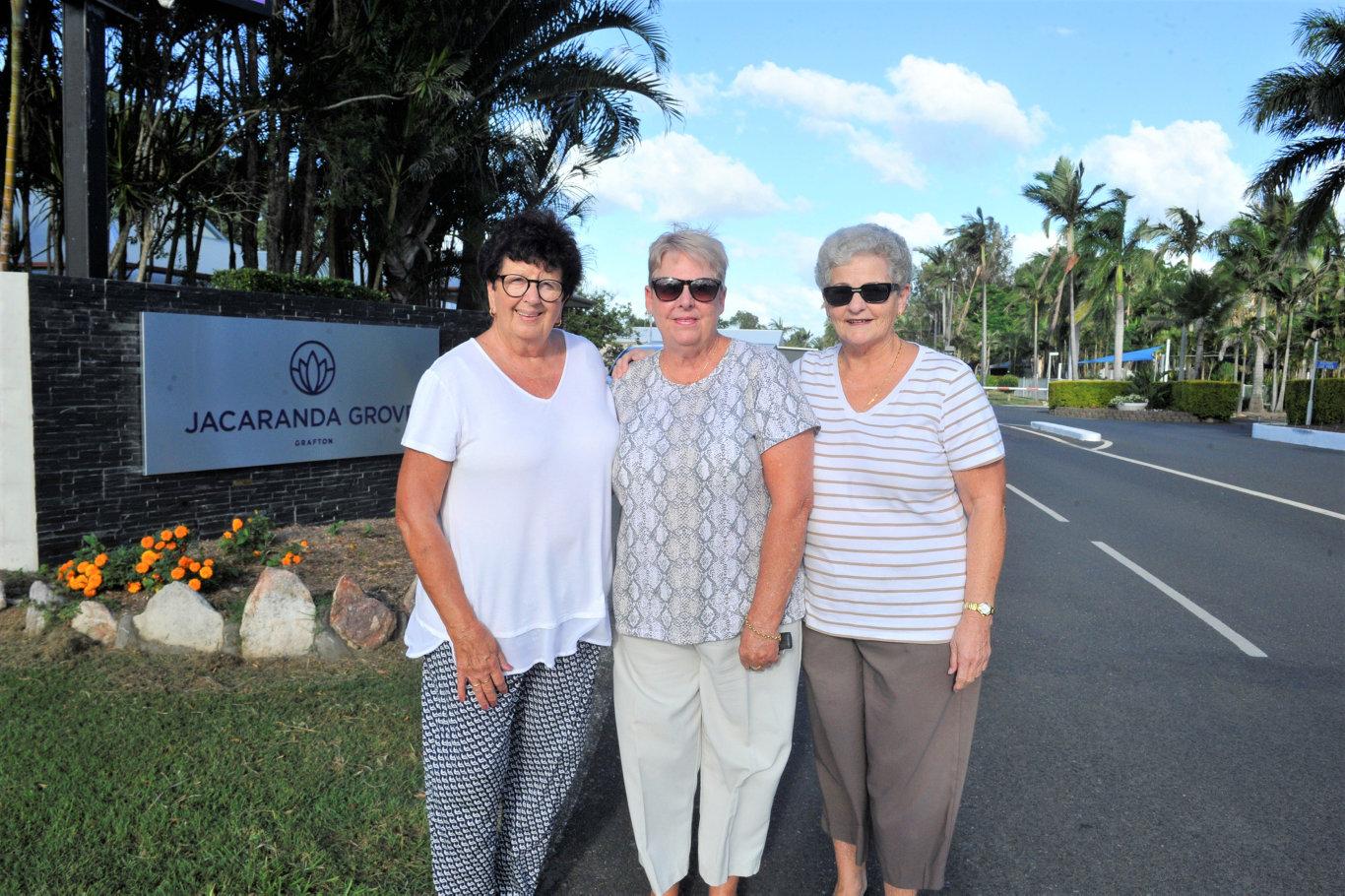 Jacaranda Grove (formerly Grafton Gateway) residents Dorothy Chorley, Sue Jacquin and Kay Martin.
