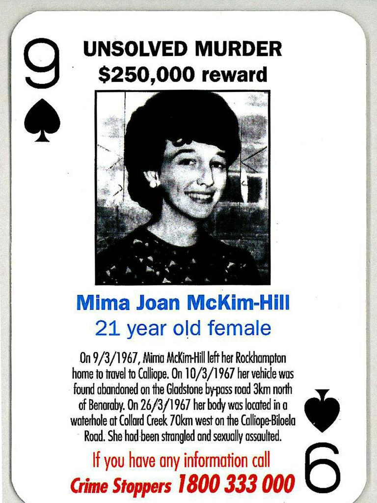 QPS Cold Case Cards - Unsolved murder 1967 . Victim Mima Joan McKim - Hill