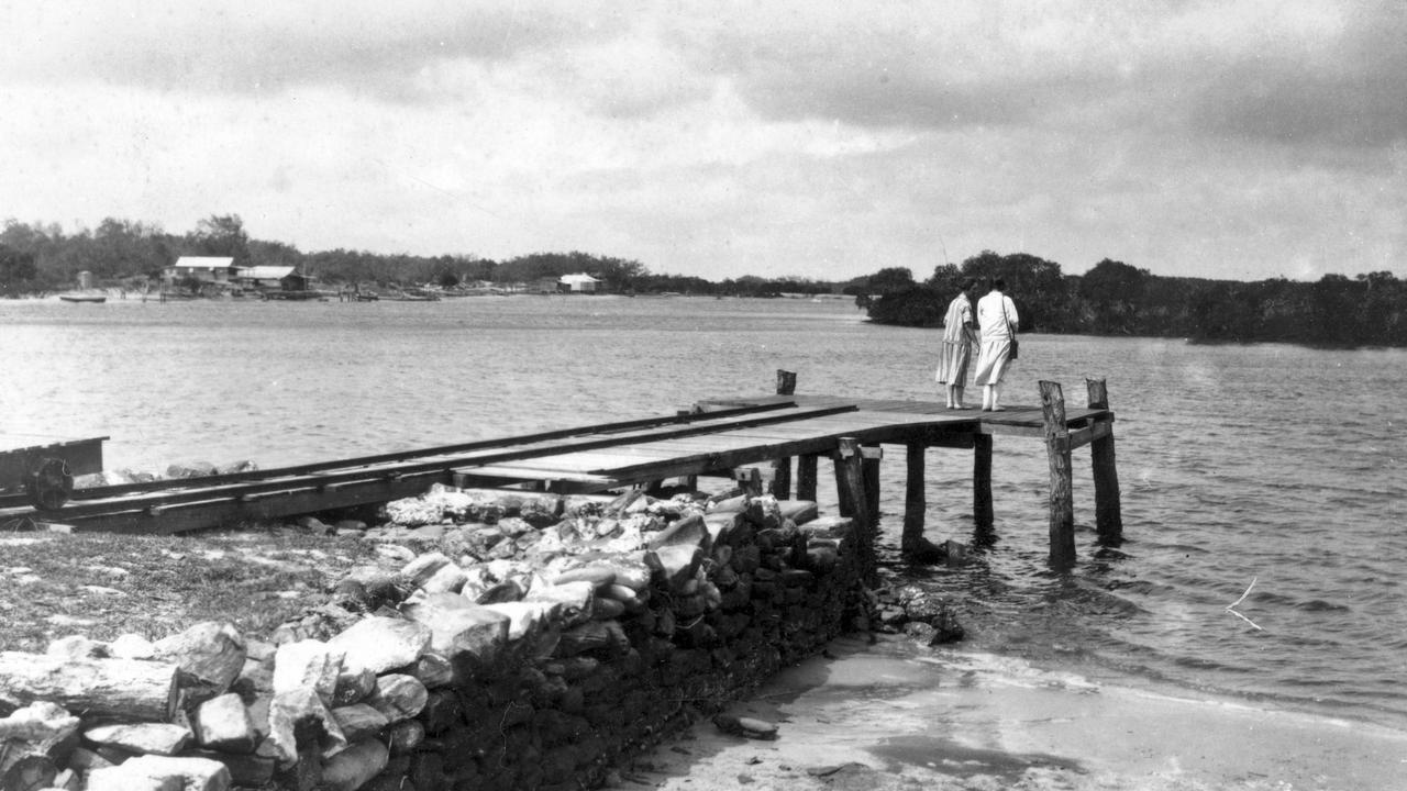 Jetty on the Mooloolah River bank off River Esplanade, Mooloolaba, 1930s.