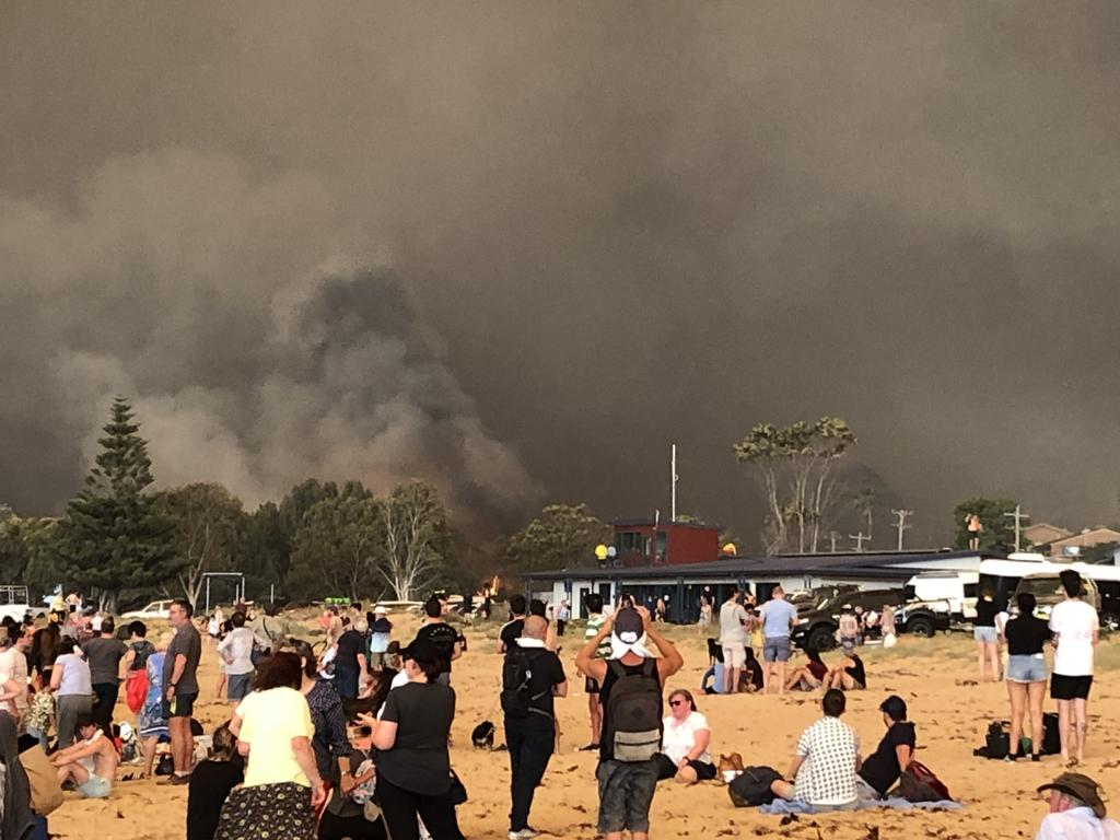 Residents caught up in the Malua Bay fires.