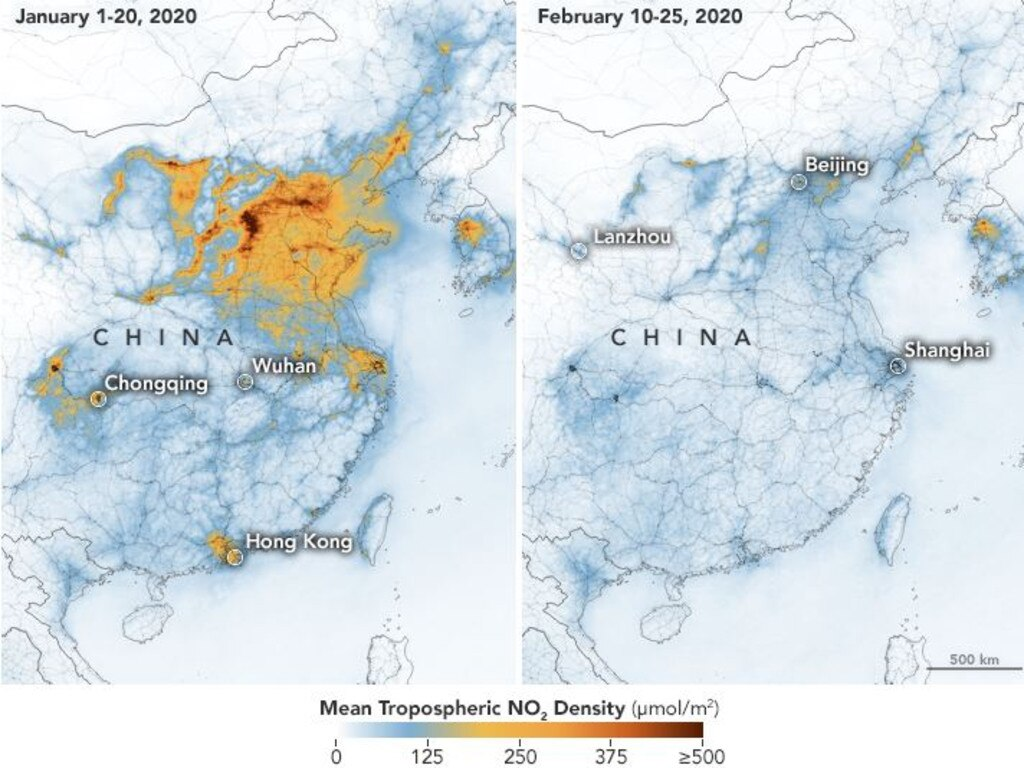 NASA images show a comparison in air pollution in China.