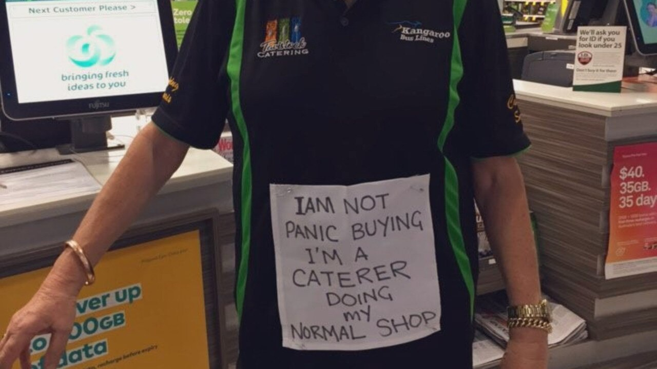 Caterer Maggie Baikie avoids shoppers' wrath with sign